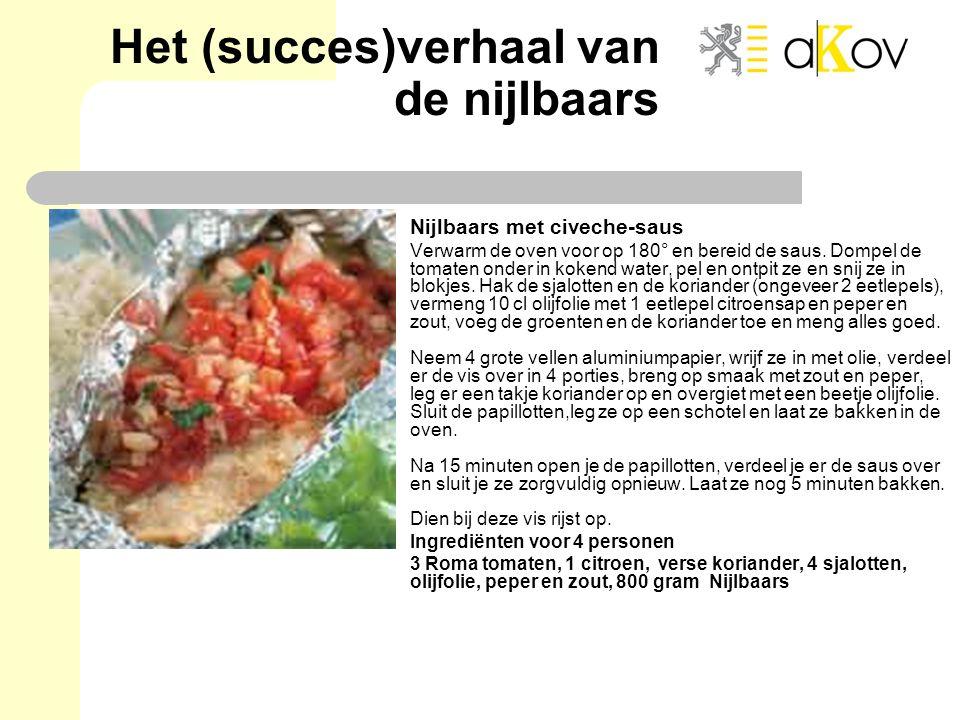 Het (succes)verhaal van de nijlbaars Nijlbaars met civeche-saus Verwarm de oven voor op 180° en bereid de saus. Dompel de tomaten onder in kokend wate