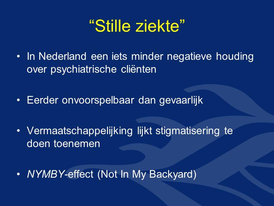 Stille ziekte In Nederland een iets minder negatieve houding over psychiatrische cliënten Eerder onvoorspelbaar dan gevaarlijk Vermaatschappelijking lijkt stigmatisering te doen toenemen NYMBY-effect (Not In My Backyard)