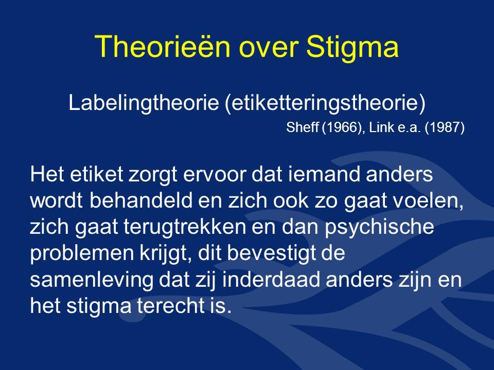Theorieën over Stigma Labelingtheorie (etiketteringstheorie) Sheff (1966), Link e.a.