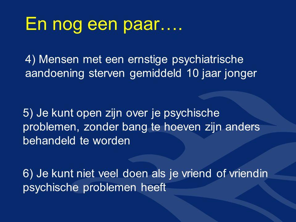 4) Mensen met een ernstige psychiatrische aandoening sterven gemiddeld 10 jaar jonger 5) Je kunt open zijn over je psychische problemen, zonder bang te hoeven zijn anders behandeld te worden 6) Je kunt niet veel doen als je vriend of vriendin psychische problemen heeft En nog een paar….