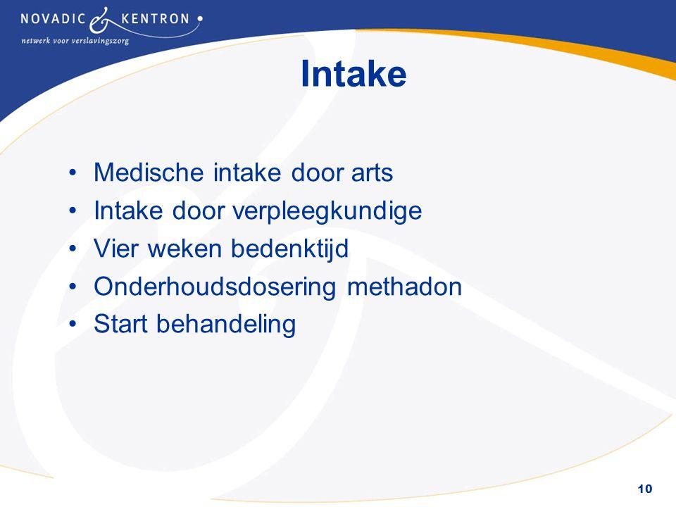 10 Intake Medische intake door arts Intake door verpleegkundige Vier weken bedenktijd Onderhoudsdosering methadon Start behandeling