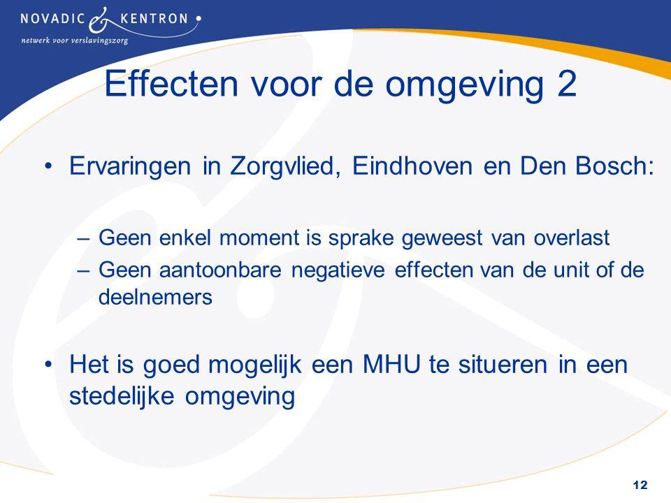 12 Effecten voor de omgeving 2 Ervaringen in Zorgvlied, Eindhoven en Den Bosch: –Geen enkel moment is sprake geweest van overlast –Geen aantoonbare negatieve effecten van de unit of de deelnemers Het is goed mogelijk een MHU te situeren in een stedelijke omgeving