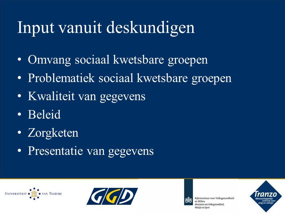 Input vanuit deskundigen Omvang sociaal kwetsbare groepen Problematiek sociaal kwetsbare groepen Kwaliteit van gegevens Beleid Zorgketen Presentatie van gegevens