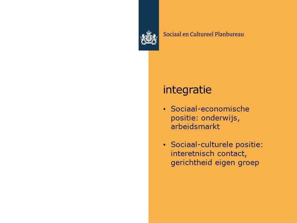 integratie Sociaal-economische positie: onderwijs, arbeidsmarkt Sociaal-culturele positie: interetnisch contact, gerichtheid eigen groep