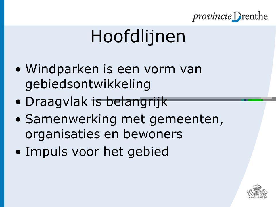 Hoofdlijnen Windparken is een vorm van gebiedsontwikkeling Draagvlak is belangrijk Samenwerking met gemeenten, organisaties en bewoners Impuls voor het gebied