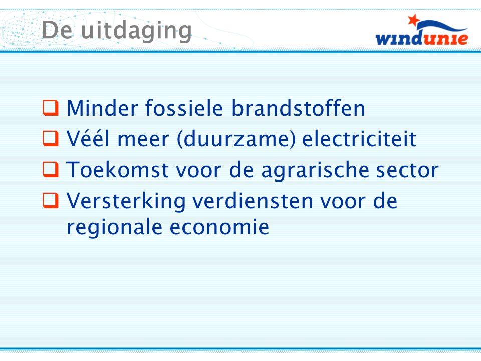 De uitdaging  Minder fossiele brandstoffen  Véél meer (duurzame) electriciteit  Toekomst voor de agrarische sector  Versterking verdiensten voor de regionale economie