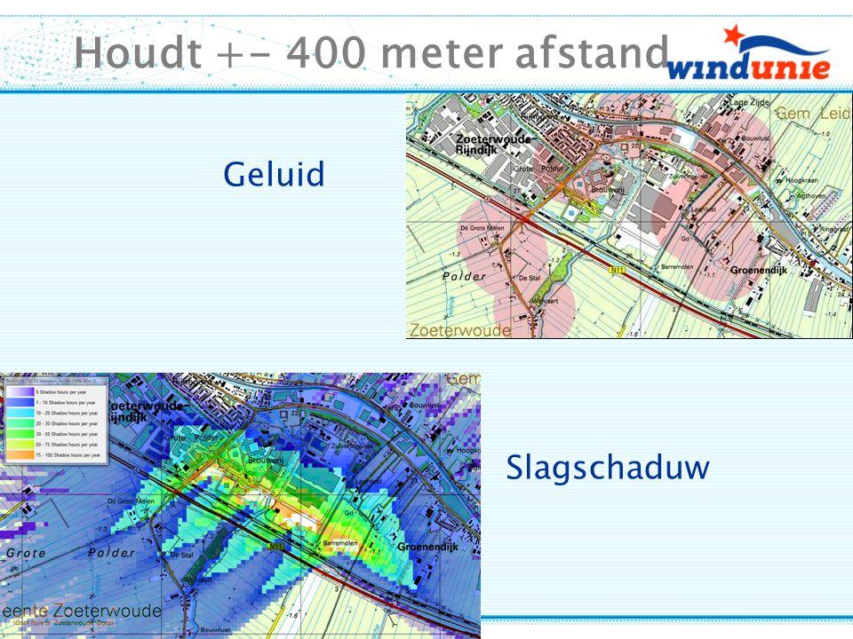 Houdt +- 400 meter afstand Geluid Slagschaduw
