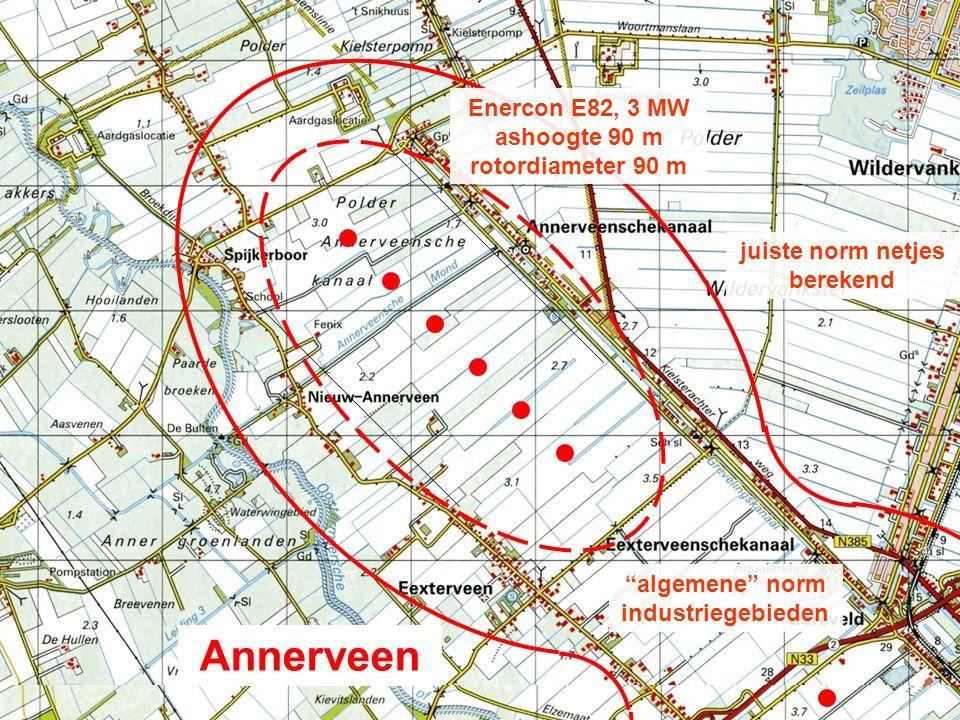 "Annerveen ""algemene"" norm industriegebieden juiste norm netjes berekend Enercon E82, 3 MW ashoogte 90 m rotordiameter 90 m"