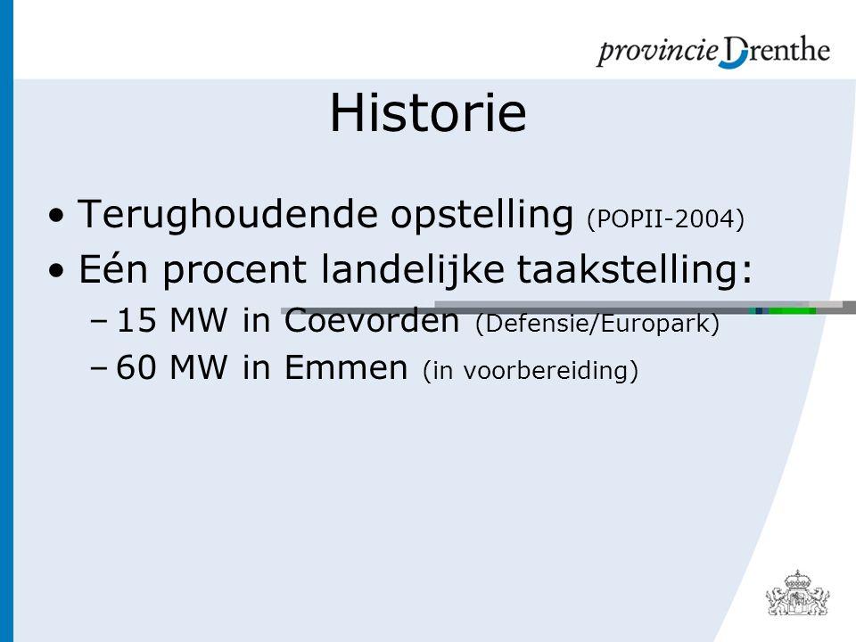 Historie Terughoudende opstelling (POPII-2004) Eén procent landelijke taakstelling: –15 MW in Coevorden (Defensie/Europark) –60 MW in Emmen (in voorbereiding)
