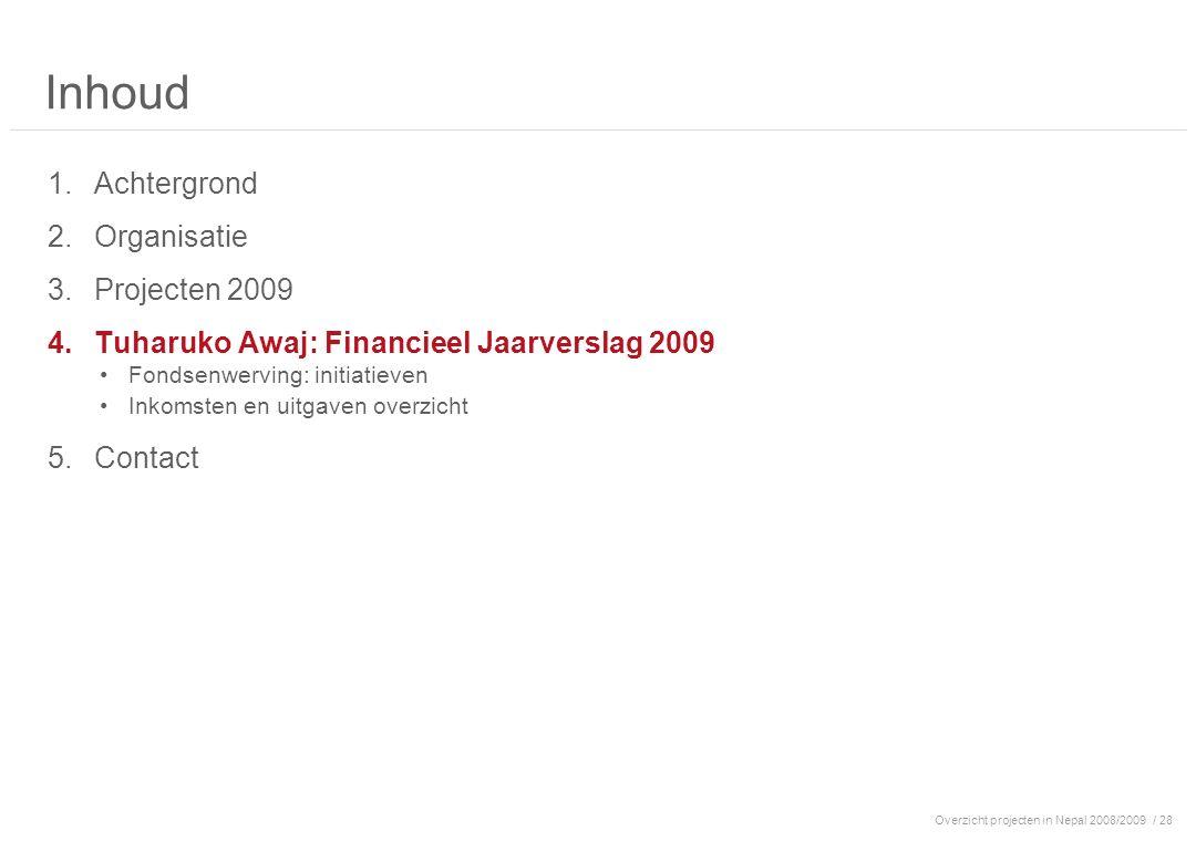 / 28 Inhoud 1.Achtergrond 2.Organisatie 3.Projecten 2009 4.Tuharuko Awaj: Financieel Jaarverslag 2009 Fondsenwerving: initiatieven Inkomsten en uitgaven overzicht 5.Contact