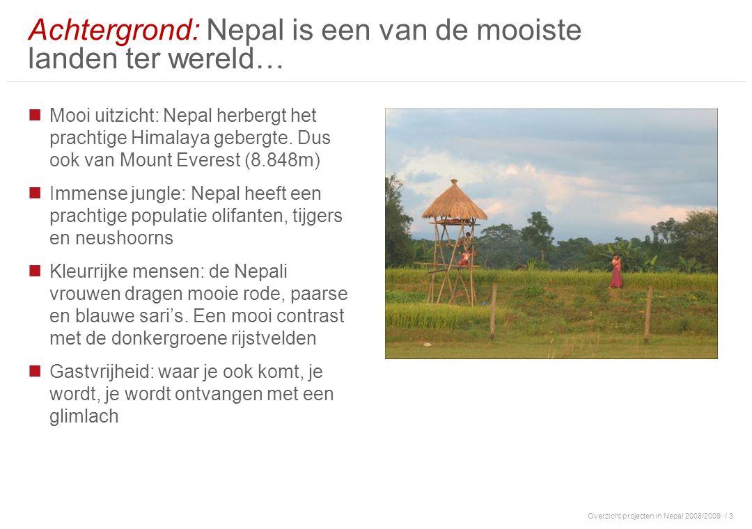 Overzicht projecten in Nepal 2008/2009/ 3 Achtergrond: Nepal is een van de mooiste landen ter wereld… Mooi uitzicht: Nepal herbergt het prachtige Himalaya gebergte.