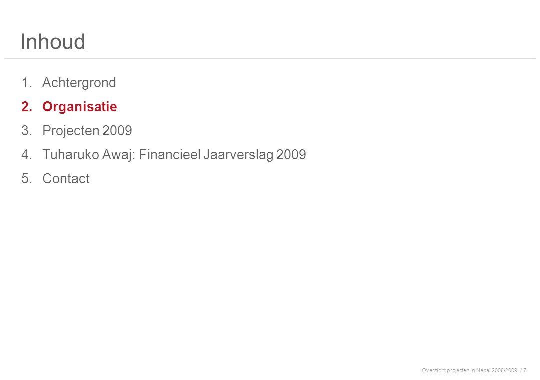 Overzicht projecten in Nepal 2008/2009/ 7 Inhoud 1.Achtergrond 2.Organisatie 3.Projecten 2009 4.Tuharuko Awaj: Financieel Jaarverslag 2009 5.Contact