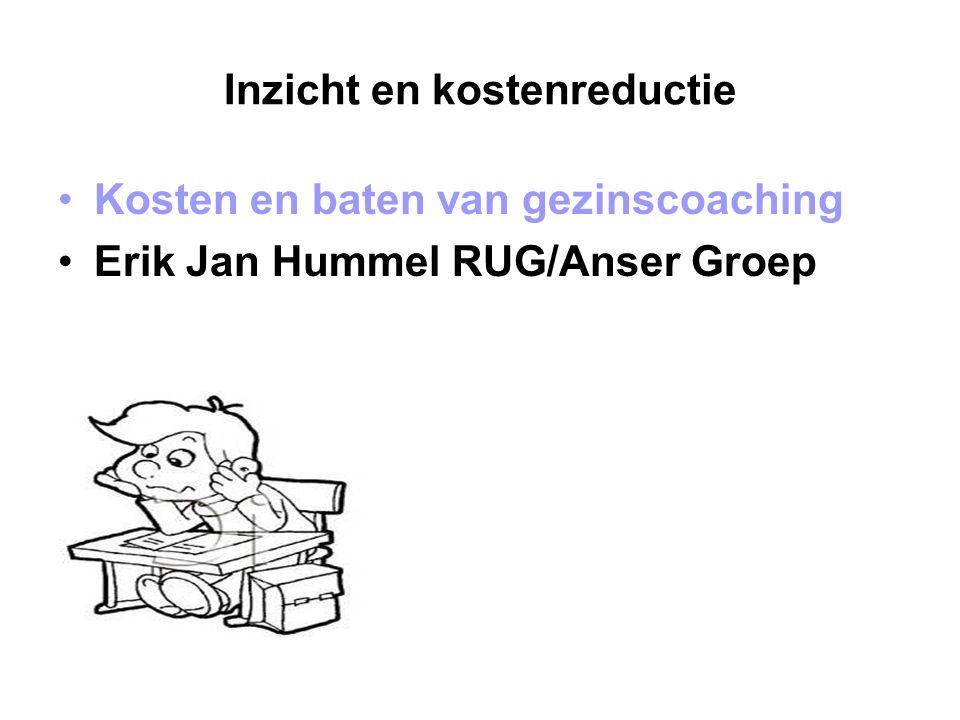 Inzicht en kostenreductie Kosten en baten van gezinscoaching Erik Jan Hummel RUG/Anser Groep