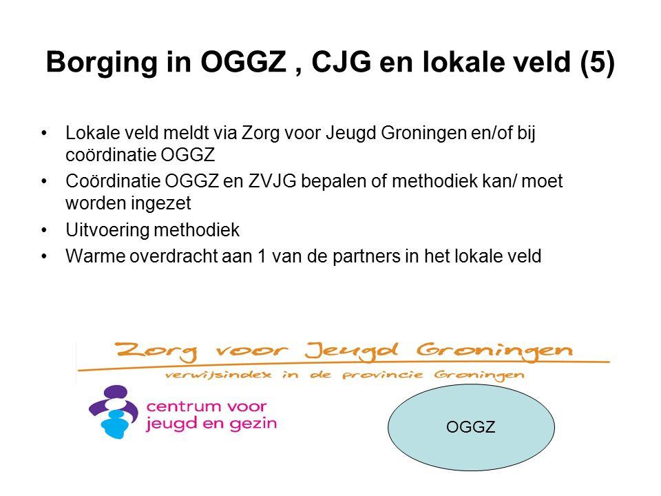 Borging in OGGZ, CJG en lokale veld (5) Lokale veld meldt via Zorg voor Jeugd Groningen en/of bij coördinatie OGGZ Coördinatie OGGZ en ZVJG bepalen of methodiek kan/ moet worden ingezet Uitvoering methodiek Warme overdracht aan 1 van de partners in het lokale veld OGGZ