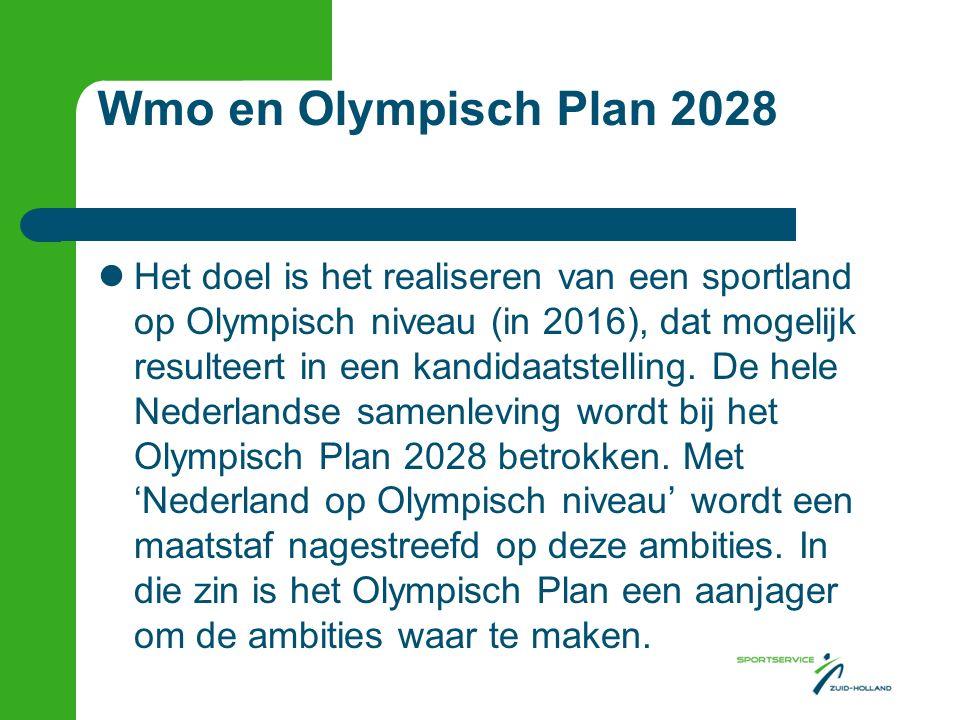 Wmo en Olympisch Plan 2028 Het doel is het realiseren van een sportland op Olympisch niveau (in 2016), dat mogelijk resulteert in een kandidaatstelling.
