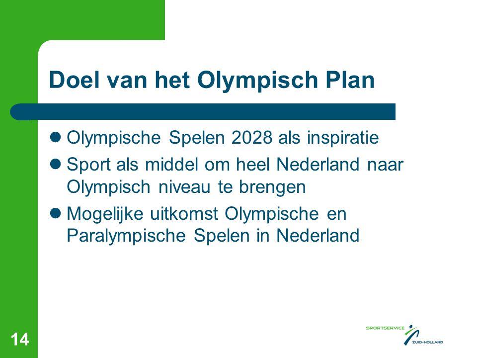 Doel van het Olympisch Plan Olympische Spelen 2028 als inspiratie Sport als middel om heel Nederland naar Olympisch niveau te brengen Mogelijke uitkomst Olympische en Paralympische Spelen in Nederland 14