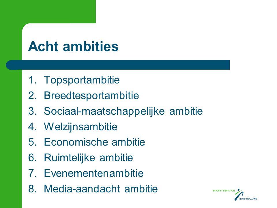 Acht ambities 1.Topsportambitie 2.Breedtesportambitie 3.Sociaal-maatschappelijke ambitie 4.Welzijnsambitie 5.Economische ambitie 6.Ruimtelijke ambitie 7.Evenementenambitie 8.Media-aandacht ambitie