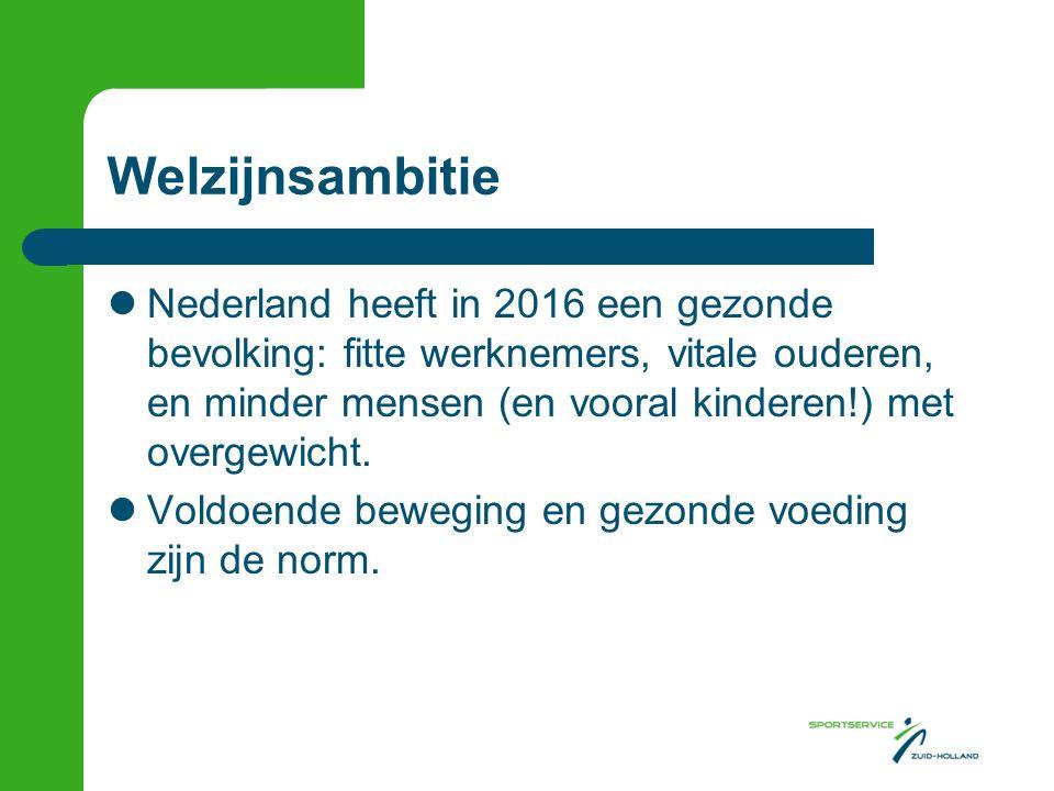 Welzijnsambitie Nederland heeft in 2016 een gezonde bevolking: fitte werknemers, vitale ouderen, en minder mensen (en vooral kinderen!) met overgewicht.
