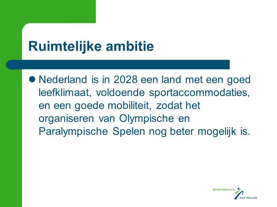 Ruimtelijke ambitie Nederland is in 2028 een land met een goed leefklimaat, voldoende sportaccommodaties, en een goede mobiliteit, zodat het organiseren van Olympische en Paralympische Spelen nog beter mogelijk is.