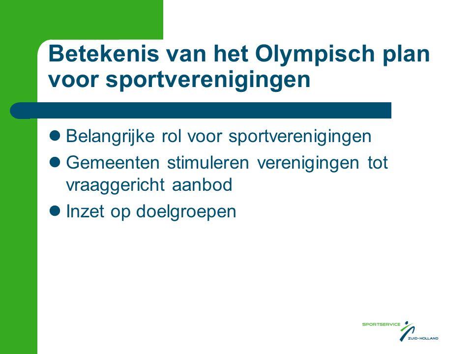 Betekenis van het Olympisch plan voor sportverenigingen Belangrijke rol voor sportverenigingen Gemeenten stimuleren verenigingen tot vraaggericht aanbod Inzet op doelgroepen