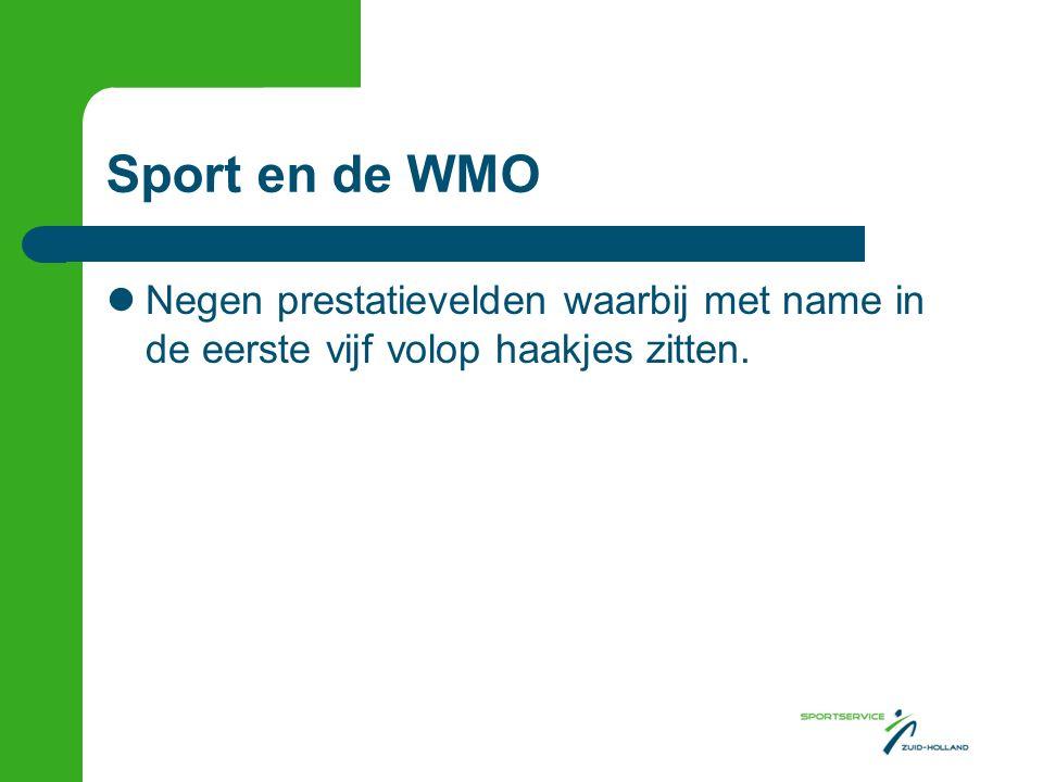 Sport en de WMO Negen prestatievelden waarbij met name in de eerste vijf volop haakjes zitten.