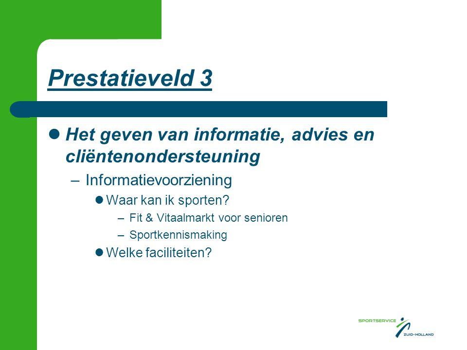 Prestatieveld 3 Het geven van informatie, advies en cliëntenondersteuning –Informatievoorziening Waar kan ik sporten.