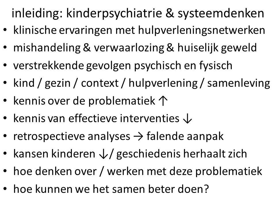 inleiding: kinderpsychiatrie & systeemdenken klinische ervaringen met hulpverleningsnetwerken mishandeling & verwaarlozing & huiselijk geweld verstrek