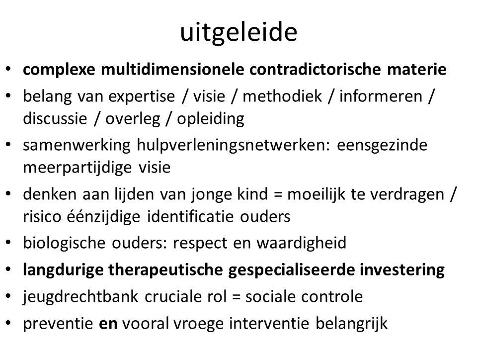 uitgeleide complexe multidimensionele contradictorische materie belang van expertise / visie / methodiek / informeren / discussie / overleg / opleidin
