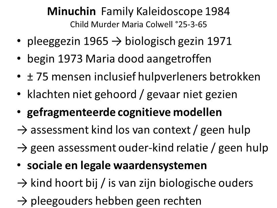 Minuchin Family Kaleidoscope 1984 Child Murder Maria Colwell °25-3-65 pleeggezin 1965 → biologisch gezin 1971 begin 1973 Maria dood aangetroffen ± 75