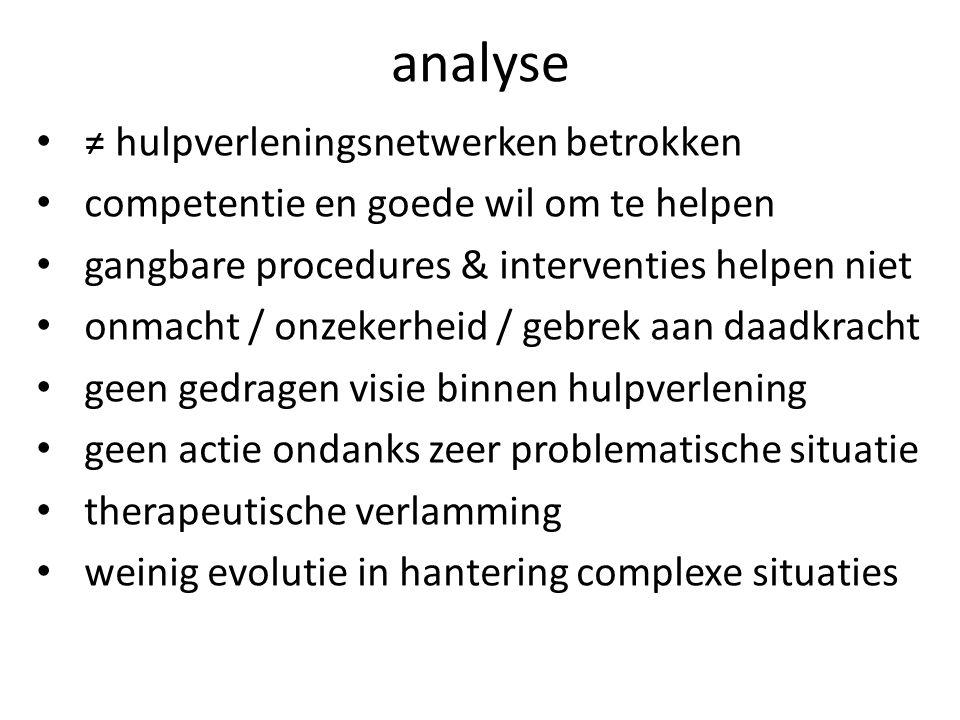 analyse ≠ hulpverleningsnetwerken betrokken competentie en goede wil om te helpen gangbare procedures & interventies helpen niet onmacht / onzekerheid