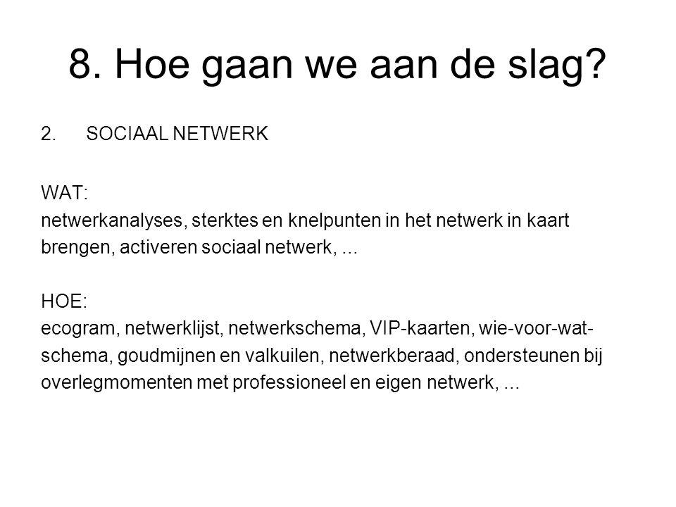 2.SOCIAAL NETWERK WAT: netwerkanalyses, sterktes en knelpunten in het netwerk in kaart brengen, activeren sociaal netwerk,...