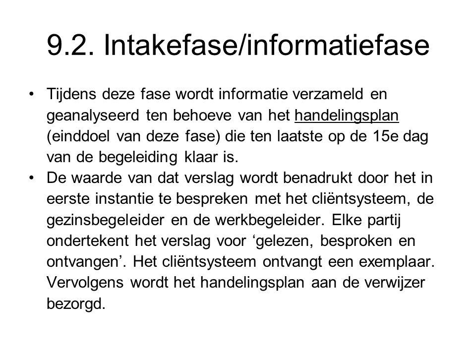 9.2. Intakefase/informatiefase Tijdens deze fase wordt informatie verzameld en geanalyseerd ten behoeve van het handelingsplan (einddoel van deze fase