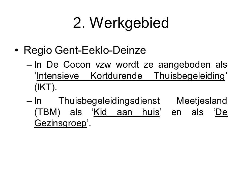 2. Werkgebied Regio Gent-Eeklo-Deinze –In De Cocon vzw wordt ze aangeboden als 'Intensieve Kortdurende Thuisbegeleiding' (IKT). –In Thuisbegeleidingsd