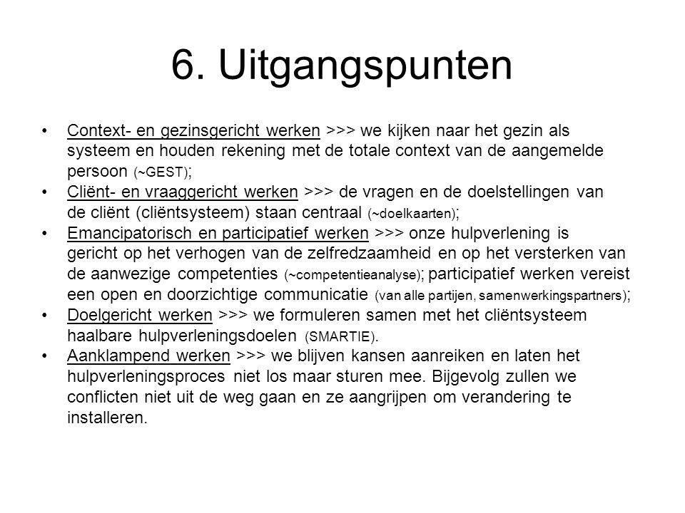 6. Uitgangspunten Context- en gezinsgericht werken >>> we kijken naar het gezin als systeem en houden rekening met de totale context van de aangemelde