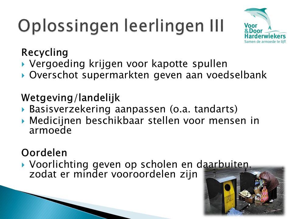 Recycling  Vergoeding krijgen voor kapotte spullen  Overschot supermarkten geven aan voedselbank Wetgeving/landelijk  Basisverzekering aanpassen (o.a.