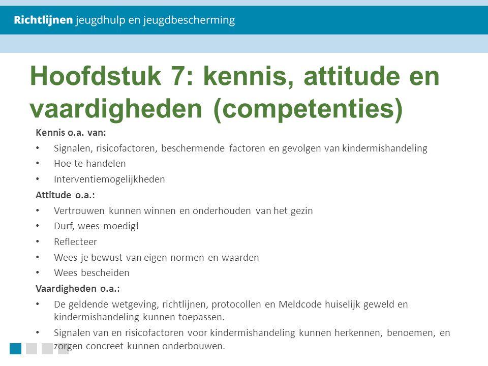 Kennis o.a. van: Signalen, risicofactoren, beschermende factoren en gevolgen van kindermishandeling Hoe te handelen Interventiemogelijkheden Attitude