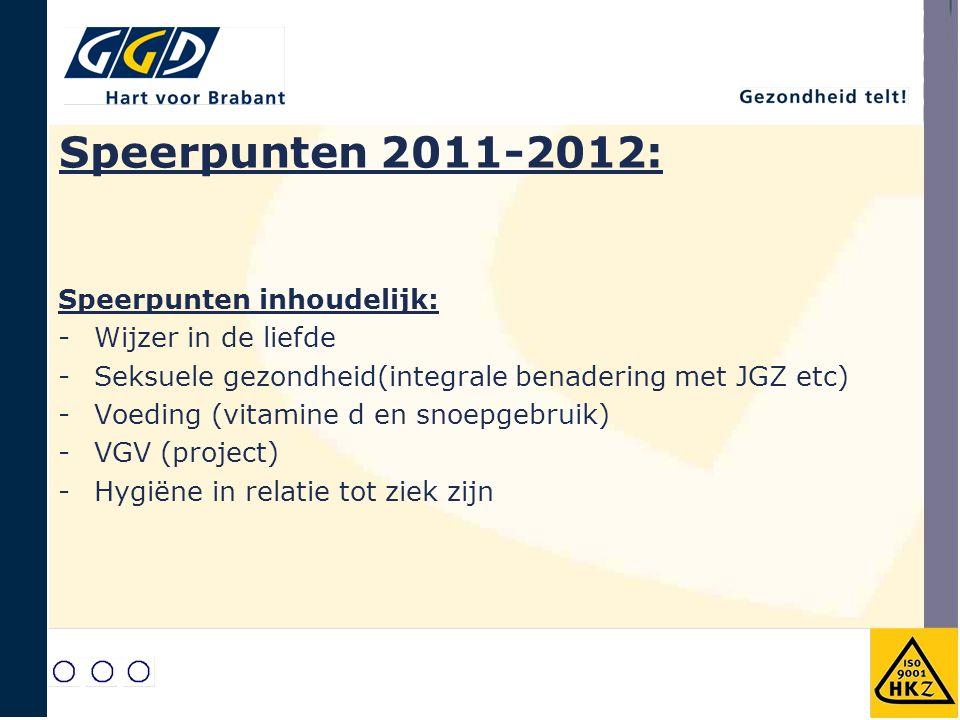 Speerpunten 2011-2012: Speerpunten inhoudelijk: -Wijzer in de liefde -Seksuele gezondheid(integrale benadering met JGZ etc) -Voeding (vitamine d en snoepgebruik) -VGV (project) -Hygiëne in relatie tot ziek zijn