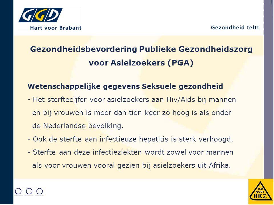 Gezondheidsbevordering Publieke Gezondheidszorg voor Asielzoekers (PGA) Wetenschappelijke gegevens Seksuele gezondheid - Het sterftecijfer voor asielzoekers aan Hiv/Aids bij mannen en bij vrouwen is meer dan tien keer zo hoog is als onder de Nederlandse bevolking.