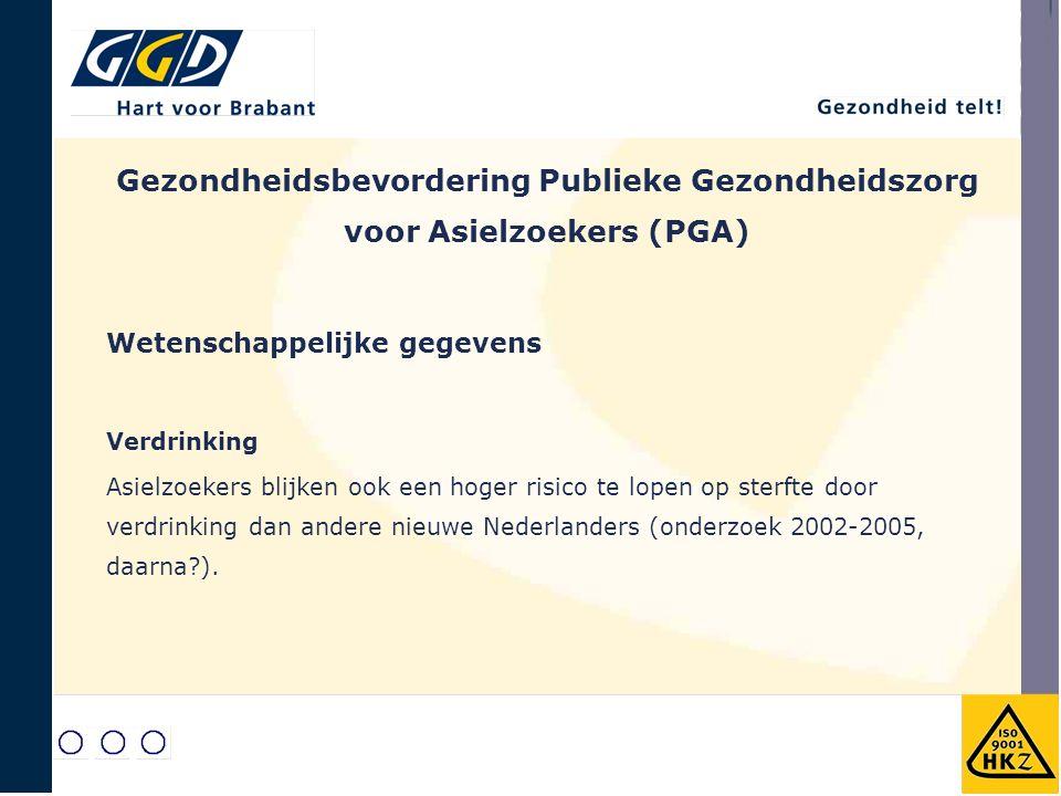 Gezondheidsbevordering Publieke Gezondheidszorg voor Asielzoekers (PGA) Wetenschappelijke gegevens Verdrinking Asielzoekers blijken ook een hoger risico te lopen op sterfte door verdrinking dan andere nieuwe Nederlanders (onderzoek 2002-2005, daarna ).