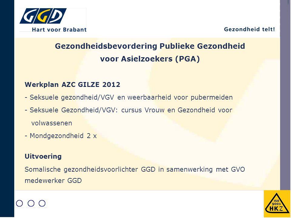 Werkplan AZC GILZE 2012 - Seksuele gezondheid/VGV en weerbaarheid voor pubermeiden - Seksuele Gezondheid/VGV: cursus Vrouw en Gezondheid voor volwasse