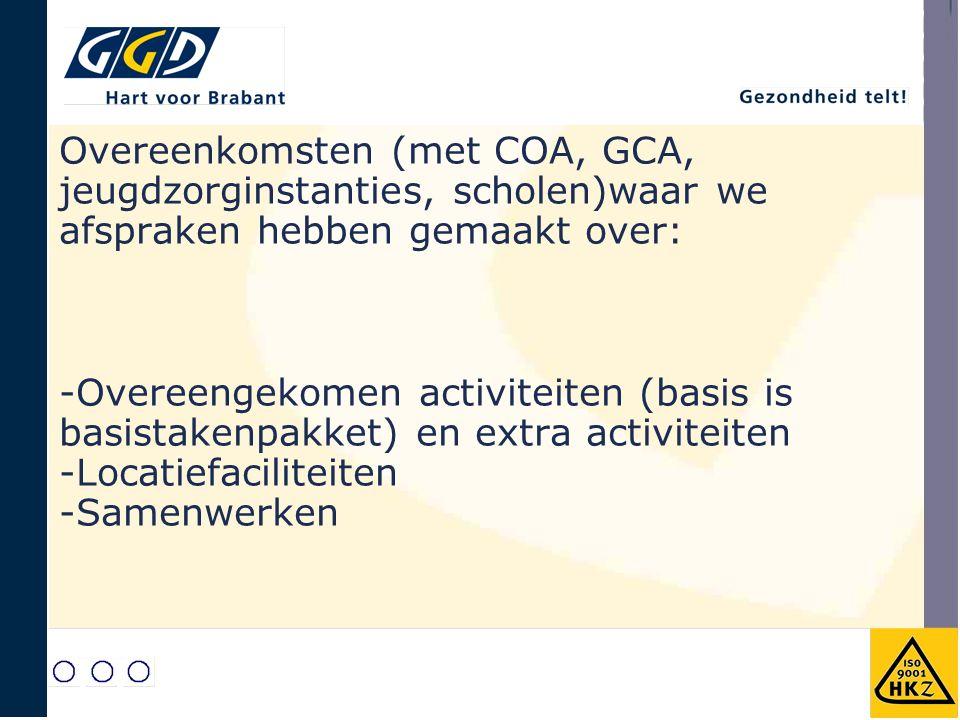 Overeenkomsten (met COA, GCA, jeugdzorginstanties, scholen)waar we afspraken hebben gemaakt over: -Overeengekomen activiteiten (basis is basistakenpakket) en extra activiteiten -Locatiefaciliteiten -Samenwerken