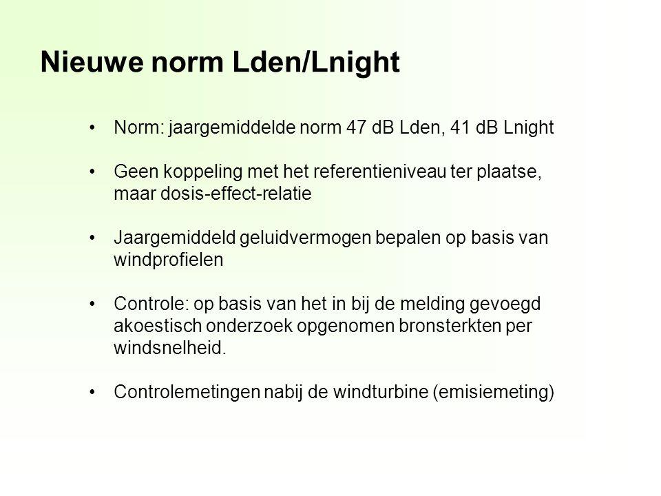 Nieuwe norm Lden/Lnight Norm: jaargemiddelde norm 47 dB Lden, 41 dB Lnight Geen koppeling met het referentieniveau ter plaatse, maar dosis-effect-relatie Jaargemiddeld geluidvermogen bepalen op basis van windprofielen Controle: op basis van het in bij de melding gevoegd akoestisch onderzoek opgenomen bronsterkten per windsnelheid.