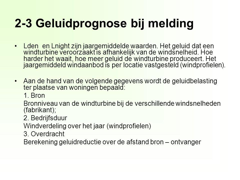 2-3 Geluidprognose bij melding Lden en Lnight zijn jaargemiddelde waarden.