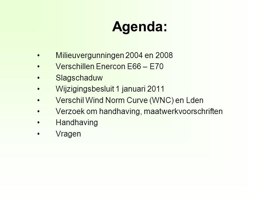 Agenda: Milieuvergunningen 2004 en 2008 Verschillen Enercon E66 – E70 Slagschaduw Wijzigingsbesluit 1 januari 2011 Verschil Wind Norm Curve (WNC) en Lden Verzoek om handhaving, maatwerkvoorschriften Handhaving Vragen