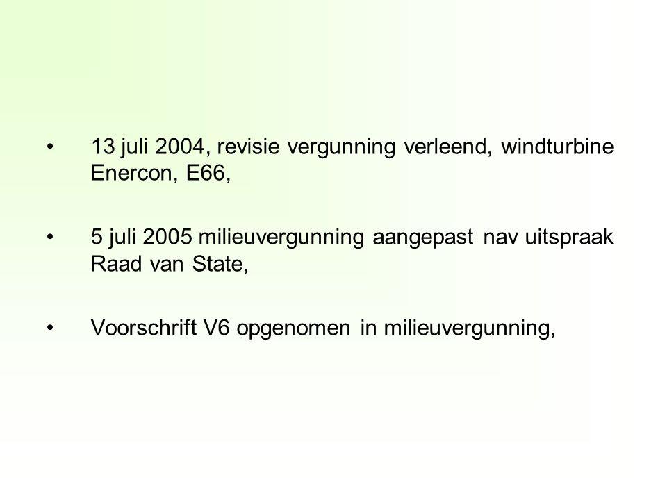 13 juli 2004, revisie vergunning verleend, windturbine Enercon, E66, 5 juli 2005 milieuvergunning aangepast nav uitspraak Raad van State, Voorschrift V6 opgenomen in milieuvergunning,
