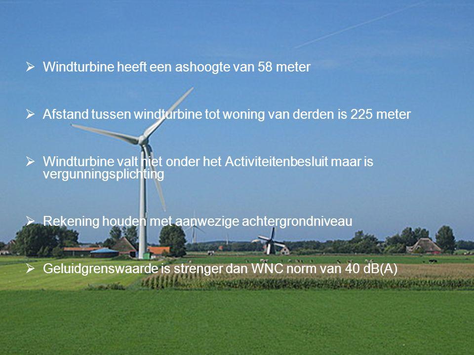  Windturbine heeft een ashoogte van 58 meter  Afstand tussen windturbine tot woning van derden is 225 meter  Windturbine valt niet onder het Activiteitenbesluit maar is vergunningsplichting  Rekening houden met aanwezige achtergrondniveau  Geluidgrenswaarde is strenger dan WNC norm van 40 dB(A)