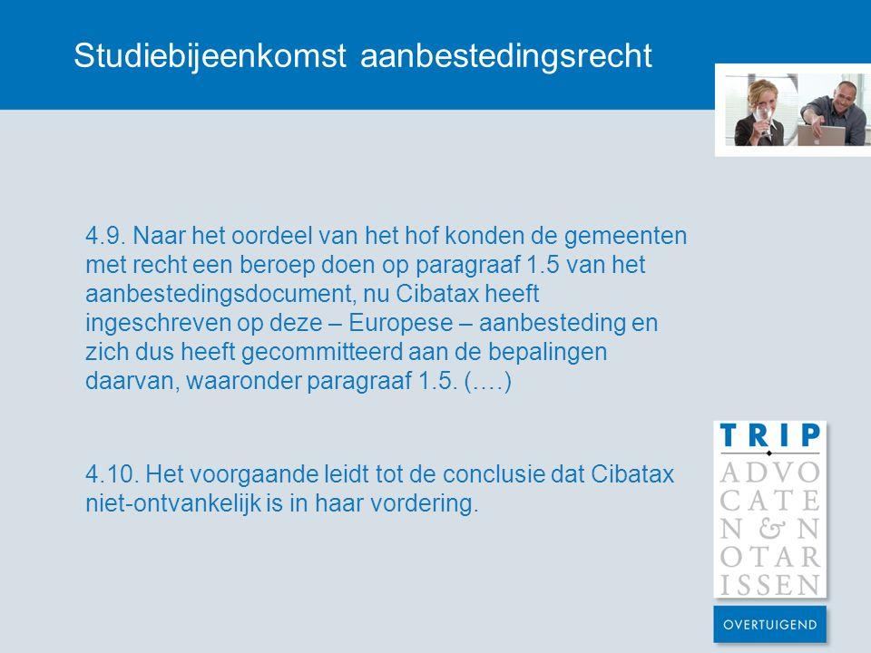 Studiebijeenkomst aanbestedingsrecht 4.9.