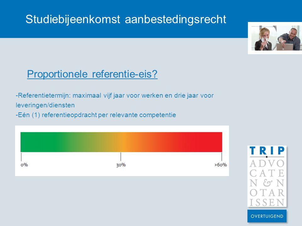 Studiebijeenkomst aanbestedingsrecht Proportionele referentie-eis.