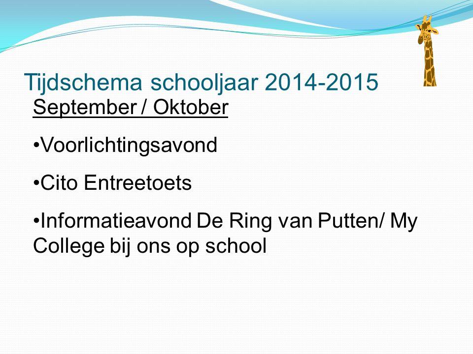 Tijdschema schooljaar 2014-2015 September / Oktober Voorlichtingsavond Cito Entreetoets Informatieavond De Ring van Putten/ My College bij ons op scho