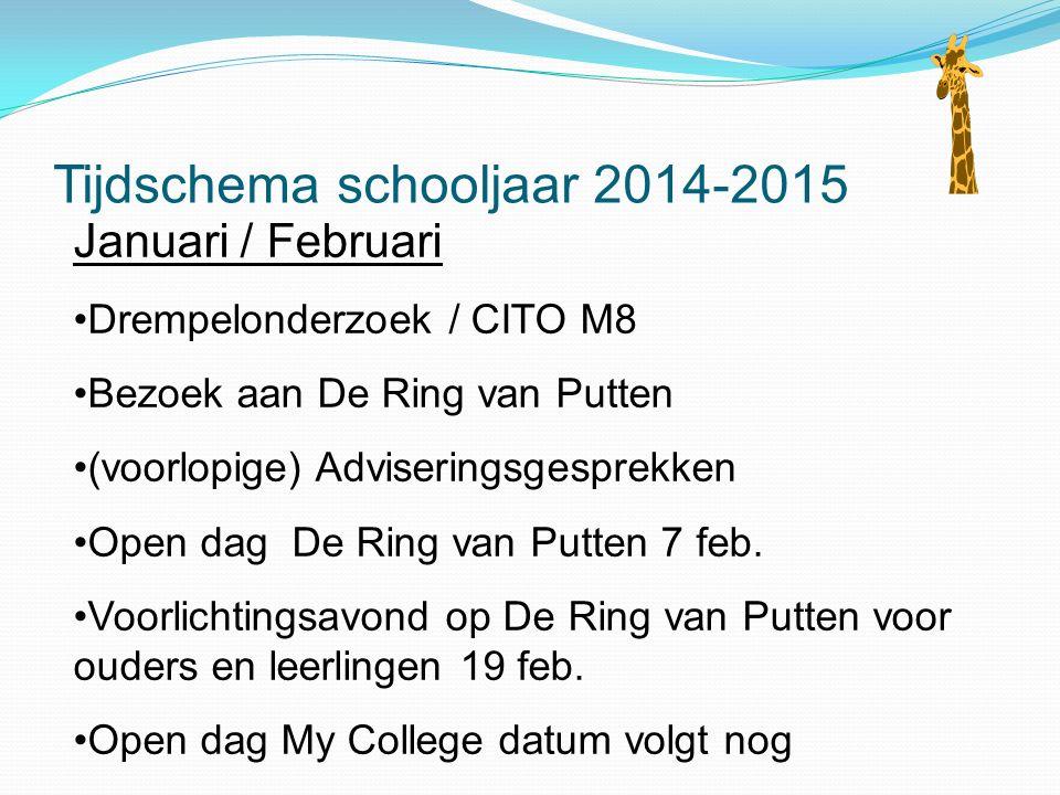 Tijdschema schooljaar 2014-2015 Januari / Februari Drempelonderzoek / CITO M8 Bezoek aan De Ring van Putten (voorlopige) Adviseringsgesprekken Open dag De Ring van Putten 7 feb.